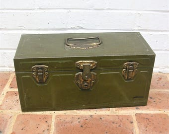 Vintage Metal Tool Box Vintage Metal Tackle Box Vintage Industrial Box Storage Box