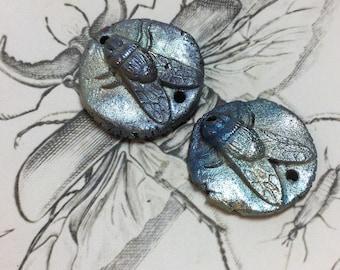 13. Wondrousstrange Raku Fly Two Hole Connectors  Flies to Honey Blue Silver Gold
