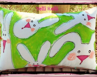 White Bunnies Easter Spring  Handpainted Pillow Made To Order YelliKelli Ships Fast