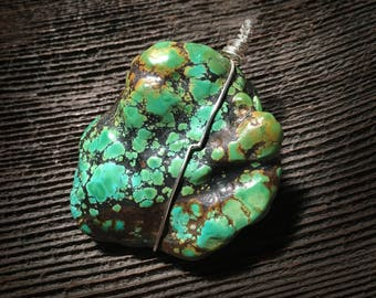 Polished Tibetan HEAVY OLD Turquoise w Sterling Silver Wire Wrap Jewelry Ritual Art ooak Handmade in the Pacific Northwest
