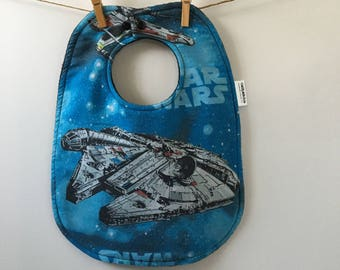 Millenium Falcon Baby Shower Gift - Star Wars Baby Bib - Vintage Star Wars Baby Shower - Star Wars Nursery - Toddler-Sized Bib with Snaps