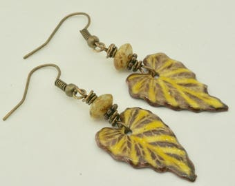 Yellow Leaf Earrings, Yellow Jewelry, Mustard Ivy Leaves, Handmade Enamel Earrings, Autumn Earrings, Fall Earring, Thanksgiving Hostess Gift