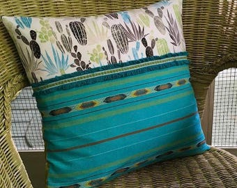 Mexican Cactus Pillow Cover Woven Tribal Vintage Trim