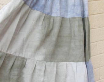 Blue and gray green cotton skirt