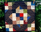 Scrappy Table Topper or Wall Hanging in browns and civil war colors