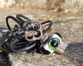 Green Clover Eyeball Skeleton Key