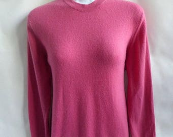 Vintage 50s 100% Cashmere Sweater Size M Pink Crew Neck Lyle Scott 44 Chest