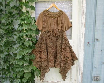 Romantic Tea Stained Fringed Lace Tunic Top// Upcycled Repurposed// Medium Large// emmevielle