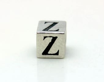 Sterling Silver Alphabet Z Block Cube Square Bead 5.5mm Large Hole