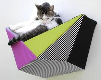Wall bed geometric modern cat shelf in fuchsia, chartreuse, grey, black and stripes