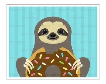 57J Kid Art Prints - Sloth Eating Big Chocolate Donut Wall Art - Funny Animal Prints - Doughnut Drawing - Bakery Decor - Sloth Drawing