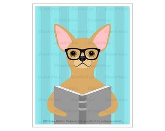 349D - Book Prints - Chihuahua Reading Book Wall Art - Book Lovers Gift - Funny Chihuahua Art - Eyeglasses Print - Book Wall Decor - Dog Art