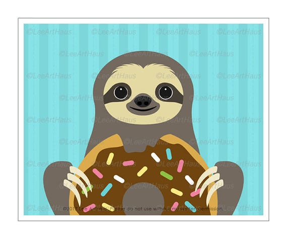 57J Kid Art Prints - Sloth Eating Big Chocolate Donut Wall Art - Funny Animal Prints - Doughnut Drawing - Bakery Decor - Sloth Drawing
