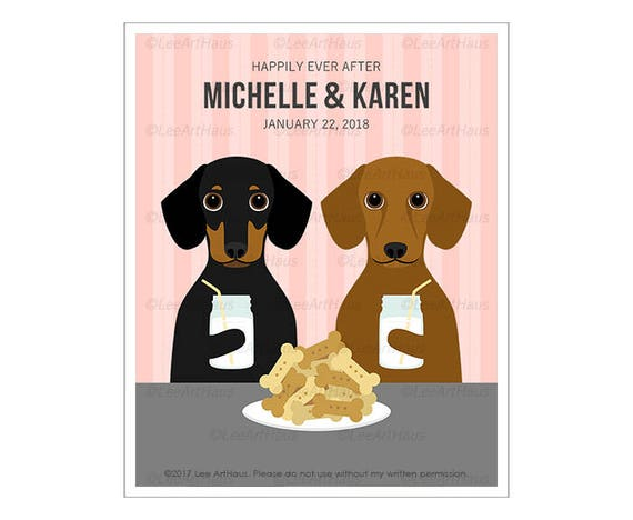 232P Personalized Gift - Happily Ever After Dachshund Wall Art - Mrs and Mrs Gift - Gift for Bride - Gay Love Art - Dachshunds Print