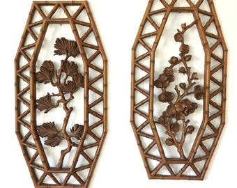 vintage wall hangings - Syroco mid century - faux bamboo - Hollywood Regency - blossom branch - brown lattice wall decor