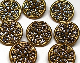 "8 Vintage BUTTONS, Set of twinkle buttons with floral design. 7/8""."