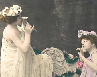 1900s Antique French real photo postcard (RPPC). School of Graces. Paper ephemera.