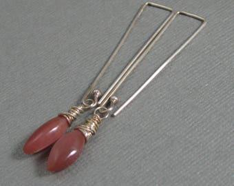 Dark peach moonstone broilette drop earrings with handmade sterling ear wire, Long moonstone gemstone dangle earrings