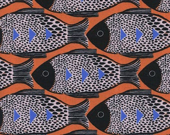 Fish Orange  - Magic Forest - Sarah Watts - Cotton + Steel - Quilters Cotton Available in Yards, Half Yards, Fat Quarters S2054-001