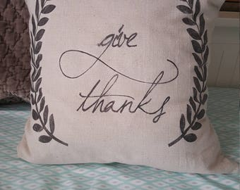 "18"" Give Thanks Pillow Cover"