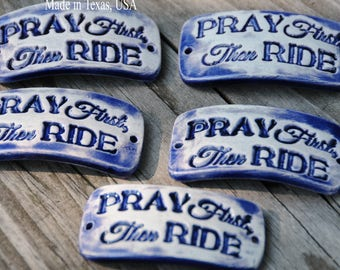 Pottery cuff bead, Pray First in Mirror Blue