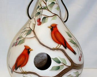 Cardinals and Cherries Gourd Birdhouse - Hand Painted Gourds