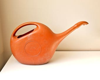 Vintage Watering Can, Large Watering Can,  Modern Plant Watering Can, Red Orange Watering Can