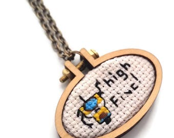 Claptrap High Five Cross stitch Necklace-xstitch Necklace-wearable art jewelry-Gifts for Gamers-Geek Chic-Geekery-Girl Gamer-Fan art Fashion