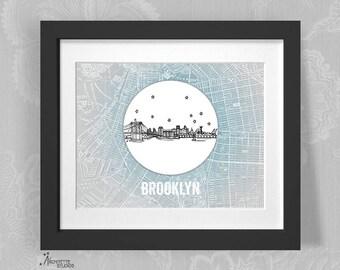 Brooklyn, New York - United States - Instant Download Printable Art - Vintage City Skyline Map Series
