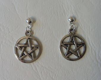 Earrings ♥ ♥ silver Pentacles