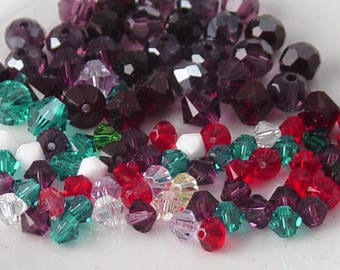 Grab Bag Swarovski Crystal Bead Bicone Round 4mm 6mm Blue White Red Purple Widows Orphans Findings Supplies (267grab)