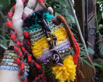 Crochet pouch, Hippie pouch, medicine bag, DD95, pouch necklace, Boho pouch, hippie festival, festival pouch, necklace, hippie crochet
