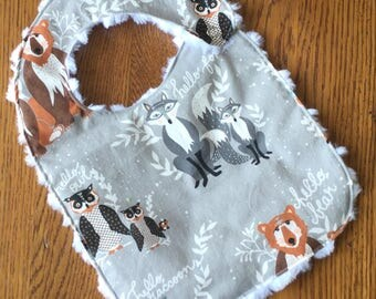 Forest Animal Minky Baby/Toddler Bib