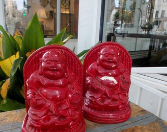 Red Happy Hotei Sitting Buddha Pair Chalk Bookends / Chippy Shabby Chic Home Decor