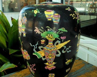 Black Hand Painted Temple Jar With Ancient Scrolls Ribbons / Yellow Pink And Blue Lotus Flowers / Old China Mark
