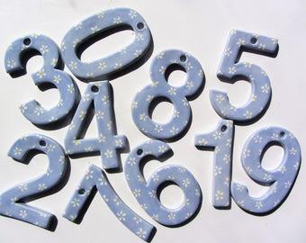 Door  house number handpainted ceramic numbers