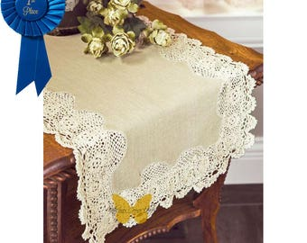 Crochet Edge Table Runner, Crochet Table Runner, Looks Like Linen,