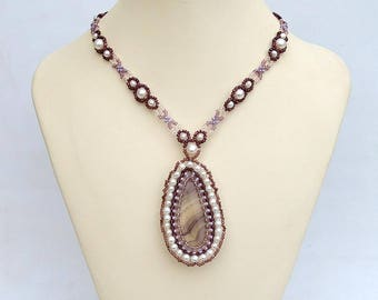 Delicate necklace with fluorite Lavender and pink necklace with real fluorite and freshwater pearls Banded fluorite necklace N708