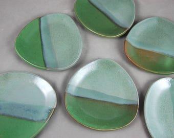 Appetizer Plates Set of 6 Dessert Plates Side Plates in Greens