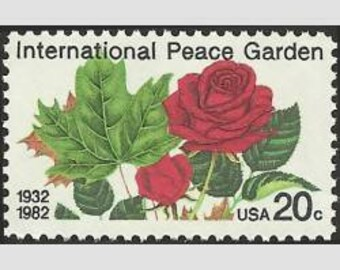 Five (5) vintage unused postage stamps - Peace garden // 20 cent stamps // Face value 1.00