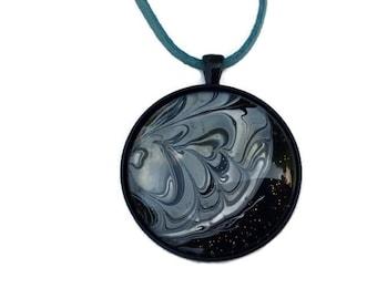 Hand Painted Moon Necklace - Lunar Pendant - Cosmic Jewelry - Moon Pendant Necklace - Cosmos Necklace - Galaxy Necklace - Eclipse Necklace