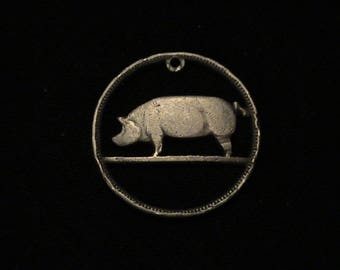IRELAND - cut coin pendant - Pig - 1943 - Rough around her edges DISCOUNT