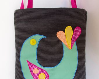 Black Tote Bag with Bird