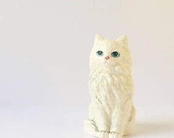 SALE Cat Figurine Animal Collectible White Persian Cat Statue Chachkie Japan