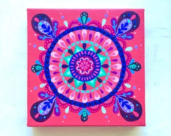 Mandala painting - Fuchsia and Blues