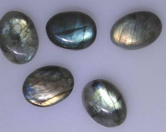 5 oval Labradorite cabochons, similar size, nice color flashes, 83.98 carats t.w.      043-10-197
