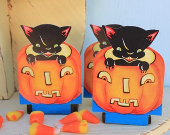 Vintage Halloween, Place Card, Party with Adorable Black Cat in Pumpkin, ONE