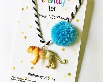 Tiger Necklace. Kids Jewelry. Unique Gift for kids. Girls Necklace. Pompom Necklace. Animal Necklace. Pom pom Necklace. Boys jewelry.