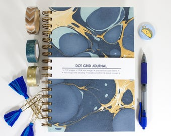 Dot Grid Journal – Marbled Molecular Navy Sky – 6 x9 inches – Bullet Journal Notebook – Galaxy Journal – Grid Notebook – Gifts for Students