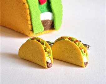 Taco Cufflinks - Mexican Fast Food Cufflinks - Delicious Cufflinks - Miniature Food Art Jewelry Collectable by Schickie